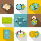 Citizenship icons set, flat style. Citizenship icons set. Flat set of 9 citizenship vector icons for web with long shadow Royalty Free Stock Images