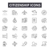 Citizenship line icons for web and mobile design. Editable stroke signs. Citizenship  outline concept illustrations. Citizenship line icons for web and mobile royalty free illustration