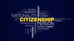 Citizenship person nationality resident passport man migration sovereignty abroad process apply animated word cloud. Background in uhd 4k 3840 2160 stock illustration