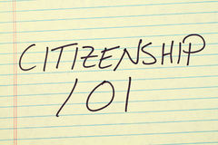 Citizenship 101 On A Yellow Legal Pad. The words `Citizenship 101` on a yellow legal pad Stock Photography
