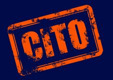 Cito. Illustration of a grunge rubber ink stamp: cito; orange stamp on dark blue background Royalty Free Stock Photography
