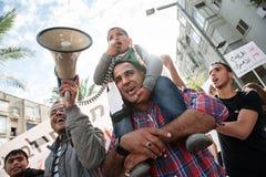 Citoyens bédouins palestiniens de protestation de l'Israël image libre de droits