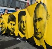 Citoyens dans la démonstration politique de mayday Images libres de droits