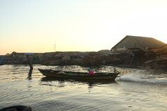 Barito river floating market in the morning royalty free stock photography