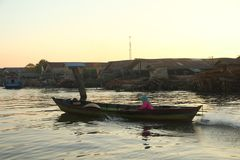 Barito river floating market in the morning stock photography