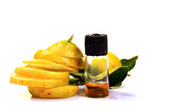 Citric acid. Bottle with lemon slices Stock Photos