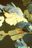 Citric Acid. Crystal of citric acid seen through microscope in polarized light stock photo