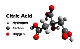 Citric acid. 3D structure of weak citric acid which is used as a natural preservative/conservative and is also used to add an acidic, or sour, taste to foods and Royalty Free Stock Photography