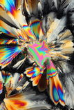 Citric acid in polarized light. Colorful abstract closeup on crystallized citric acid in polarized light Royalty Free Stock Photography