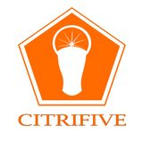 Citrifive. This piece features a cup and a cut orange housed in a pentagon. It could qualify as a product logo for a fruit and beverage company Stock Photo