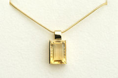 Citrin Pendant. With gold necklace in presentation box Royalty Free Stock Photography