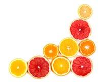 Citrinas isoladas Partes de limão, de cal, de toranja cor-de-rosa e de laranja isolados no fundo branco, com grampeamento Fotografia de Stock Royalty Free