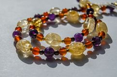 Citrine, Amethyst and Carnelian jewellery royalty free stock photo