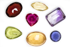 Citrine, ametista, peridot, rubi, quartzo, âmbar, gema dos opalgems Imagens de Stock Royalty Free