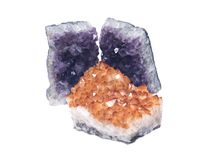 Citrine druzy cluster surrounded by amethyst druzy clusters Royalty Free Stock Image