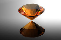 Citrine. Jewelry gems roung shape on black background Royalty Free Stock Photo