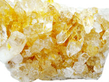 Citrine rock crystal quartz geode geological crystals Royalty Free Stock Photos