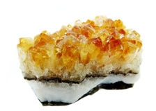 Citrine rock crystal quartz geode geological crystals Royalty Free Stock Images