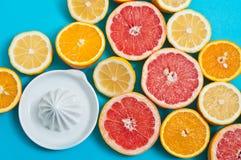 Citrinos e um espremedor de frutas na tabela Fotografia de Stock