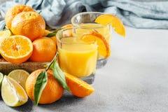 Citrinos frescos O mandarino, cal, tangerina, limão e suco Imagens de Stock