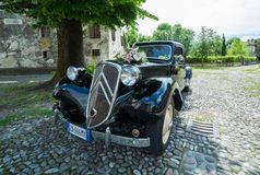 Citroën Traction Avant 7c. Strassoldo,Italy JUNE 4,2016:Photo of a Citroën Traction Avant 7c 1942. This car pioneered mass production of three stock images