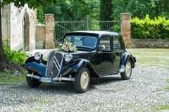 Citroën Traction Avant 7c. Strassoldo,Italy JUNE 4,2016:Photo of a Citroën Traction Avant 7c 1942. This car pioneered mass production of three stock photography