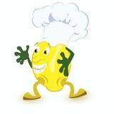 Citroen-beeldverhaal-karakter-in-chef-kok-hoed Stock Afbeeldingen