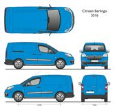 Citroen Berlingo Long 2016 Professional Cargo Van. Citroen Berlingo Long Cargo Van 2016 Sky Blue color isolated draw scale 1:10 in CDR Format Royalty Free Stock Images