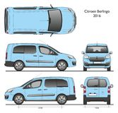 Citroen Berlingo Long 2016 Professional Van. Citroen Berlingo Long 2016 Professional Blue Van isolated draw scale 1:10 in CDR Format stock illustration
