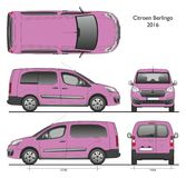 Citroen Berlingo Long 2016 Professional Combi Van. Pink color isolated draw scale 1:10 in CDR Format royalty free illustration