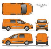 Citroen Berlingo Long 2016 Professional Van. Citroen Berlingo Long 2016 Professional Orange Van isolated draw scale 1:10 in CDR Format Stock Photos