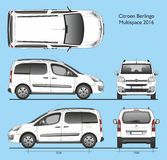 Citroen Berlingo Multispace 2016 Professional Van. Citroen Berlingo Multispace 2016 Professional Combi Van isolated draw scale 1:10 in CDR Format vector illustration