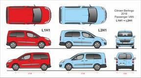 Citroen Berlingo Pasażerski Van L1H1 i L2H1 2016 teraźniejszość royalty ilustracja