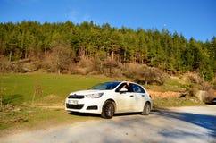 Citroen blanc C 4 sur la route forêt de pin Photos libres de droits