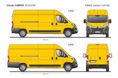 Citroen bluzy ładunek Doręczeniowy Van L3H2 2014-2019 i L4H2 ilustracji