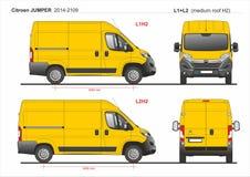 Citroen bluzy ładunek Doręczeniowy Van L1H2 2014-2019 i L2H2 ilustracja wektor
