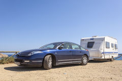 Citroen C6 with a caravan Stock Photo