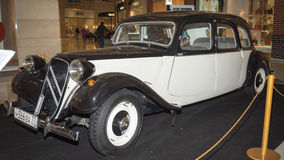 Citroen 11c. Moscow, Russia - April 02, 2017: Citroen 11c, Traction Avant, France 1953. Retro car exibition in shopping mall Metropolis Royalty Free Stock Photography