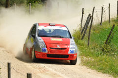 Citroen C2  rally car. Tullio Luigi Versace  of  Italy  with  Cristina Caldart (co-pilote)    drives his Citroen C2 during the third stage of the 2010 San Stock Photo