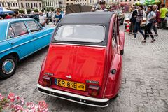 Citroen 2CV6 Club, rear view, retro design car. Exhibition of vi. Ntage cars. Rally of old vintage vehicles anciens. Red color with chrome lights Royalty Free Stock Image
