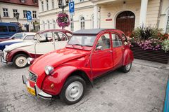 Citroen 2CV6 Club, side view, retro design car. Exhibition of vi. Ntage cars. Rally of old vintage vehicles anciens. Red color with chrome lights Stock Image