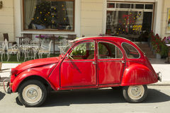 Citroen 2CV oldtimer car. Citroën unveiled the 2CV—signifying two fiscal horsepower, initially only 12 hp 8.9 kW—at the Paris Salon in 1948. The car became Royalty Free Stock Photos
