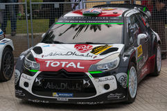 Citroen DS3 WRC in Salou , Spain. WRC Car of the team Citroen DS3 WRC Abu Dhabi with driver Kris Meeke and his co-driver Paul Nagle. Stage from the 51th Rally stock photography