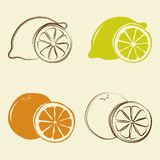 Citroen en oranje pictogrammen - vectorillustratie royalty-vrije illustratie