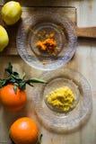 Citroen en Oranje schil stock fotografie