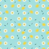 Citroen en zoet wit bloem naadloos patroon vector illustratie