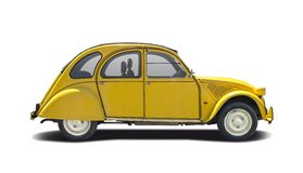 Citroen jaune 2CV d'isolement sur le blanc Images stock