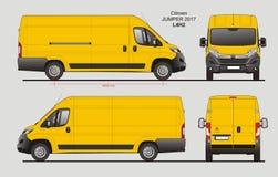 Citroen Jumper Cargo Van 2017 L4H2 Blueprint. Citroen Jumper Cargo Delivery Van 2017 L4H2 Scale 1:10 detailed template in AI Format Royalty Free Stock Photography