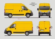 Citroen Jumper Cargo Van 2017 L1H2 Blueprint. Citroen Jumper Cargo Delivery Van 2017 L1H2 Scale 1:10 detailed template in AI Format Royalty Free Stock Photos