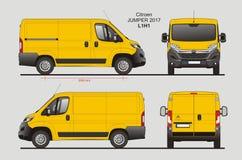 Citroen Jumper Cargo Van 2017 L1H1 Blueprint. Citroen Jumper Cargo Delivery Van 2017 L1H1 Scale 1:10 detailed template in AI Format Stock Images